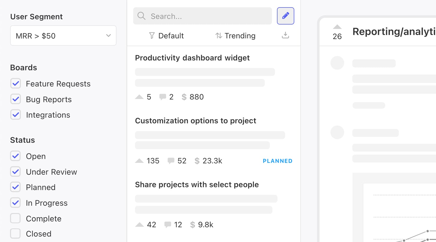 The admin view of Canny, a customer feedback management tool