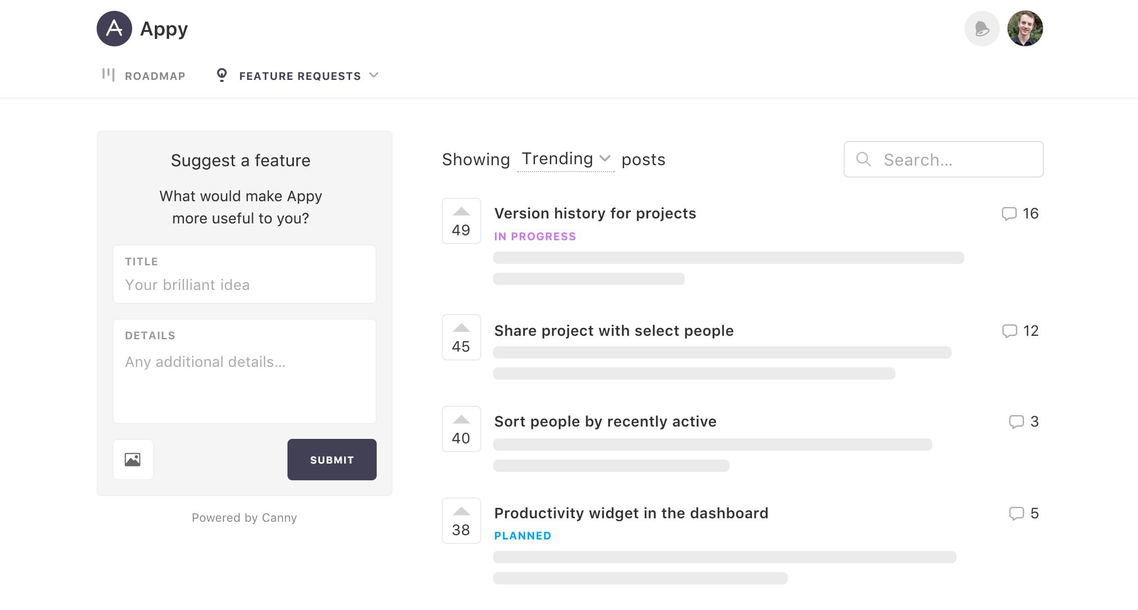 The public view of Canny, a customer feedback management tool